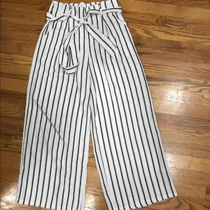 Pants - Striped white and black palazzo pants